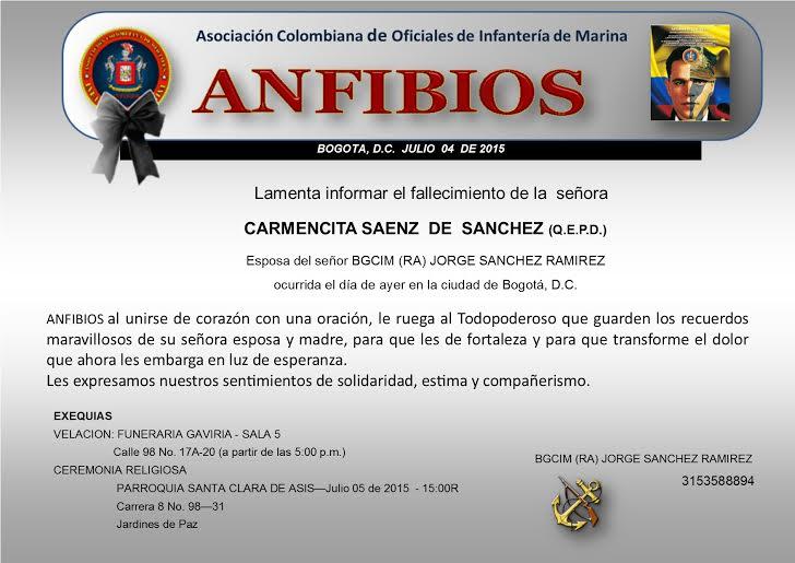 FALLECIMIENTO ESPOSA SR. BGCIM (RA) JORGE SANCHEZ RAMIREZ