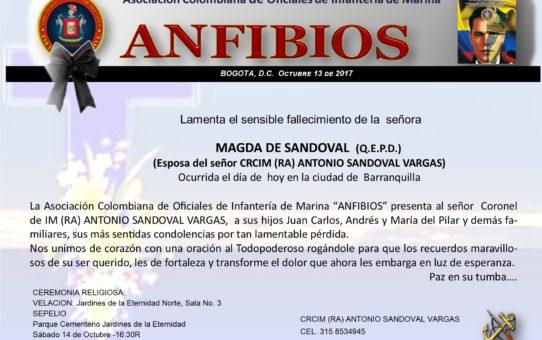 FALLECIMIENTO SRA. MAGDA DE SANDOVAL