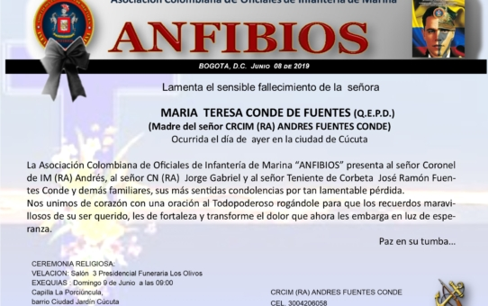 FALLECIMIENTO SEÑORA MADRE DEL SEÑOR CRCIM (RA) ANDRES FUENTES CONDE.