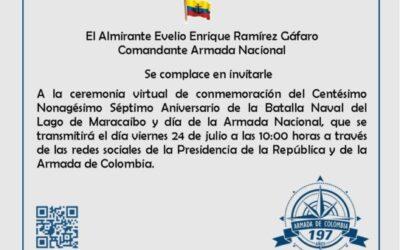 Invitación Conmemoración del Centésimo Nonagésimo Aniversario de la Batalla Naval del Lago de Maracaibo y día de la Armada Nacional