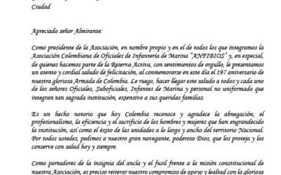 SALUDO A LA ARMADA DE COLOMBIA EN SU ANIVERSARIO